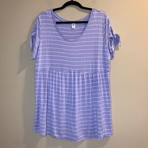 Old Navy Striped Maternity Tunic Top Tie Sleeve